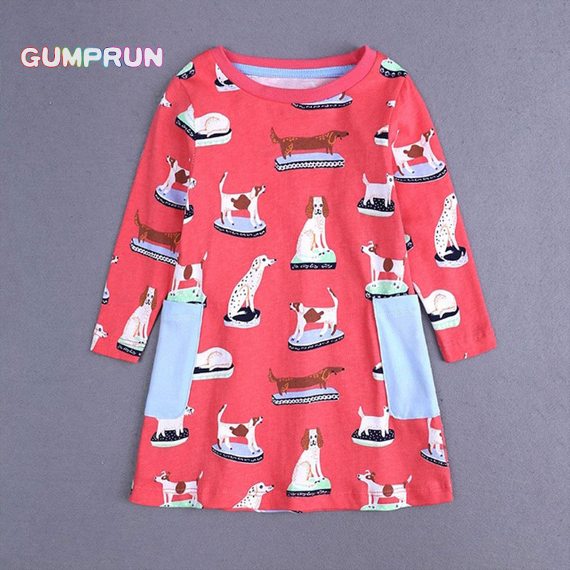 Fashion Toddler Girl Clothes Autumn Children's A-line Dress Happy Dog Print Girl Dresses Long Sleeve Magenta Princess Dress smock long sleeve a line dress