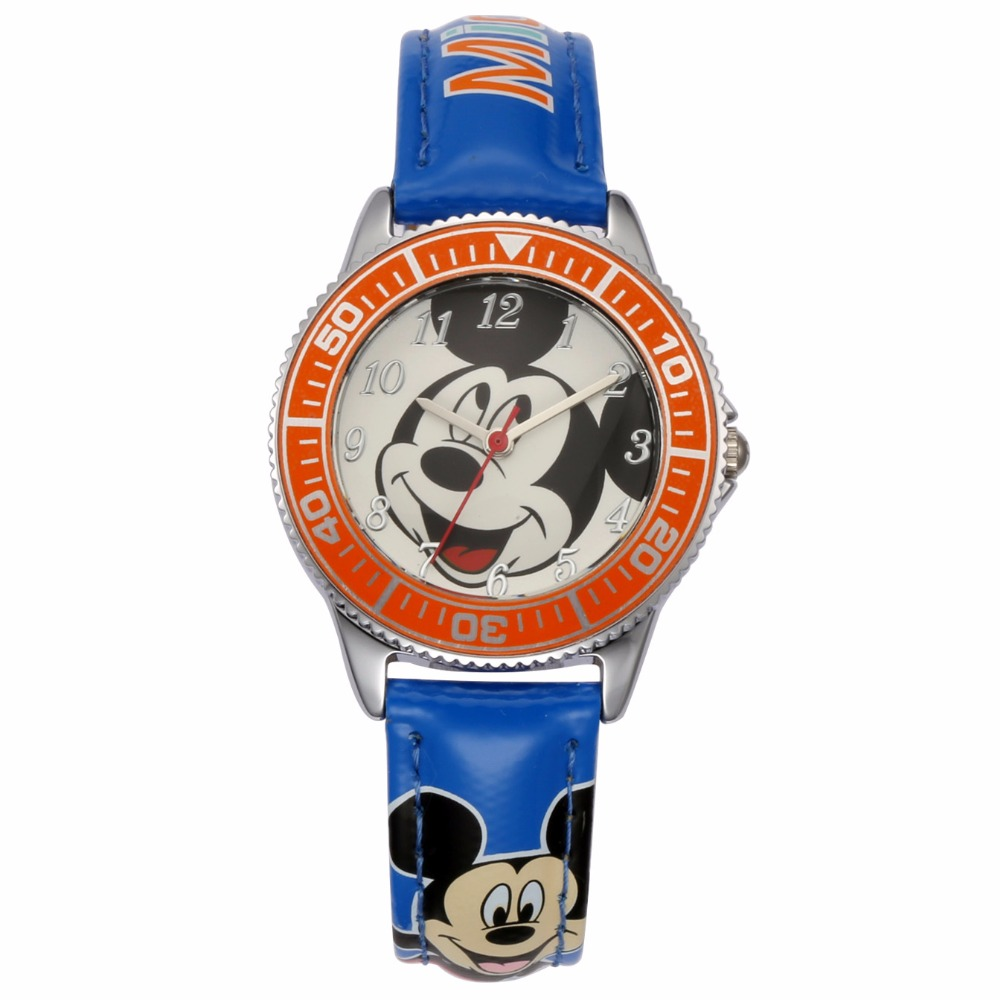 Children's Watches Disney brand mickey mouse children watch boy girl leather quartz child clocks students waterproof