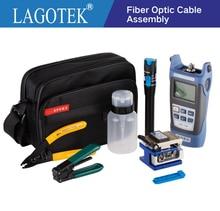 12 adet/paket FTTH fiber optik alet kiti ile FC 6S Fiber optik cleaver güç ölçer görsel hata bulucu fiber sıyırma pensesi