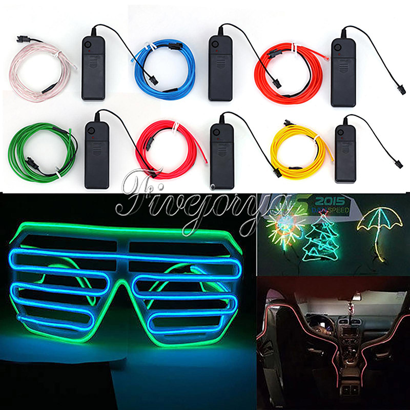 2M EL Wire Rope Flexible Neon LED Light Glow Battery Power Wedding Party Decorations Supply Accessories 6 Colors