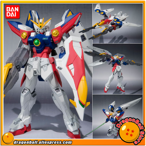 Japan Anime Gundam W Original BANDAI Tamashii Nations Robot Spirits Action Figure No.118 - Wing Gundam Zero free shipping action figures robot anime assembled gundam mg 1 100ew wing zero gundam luminous stickers original box gundam