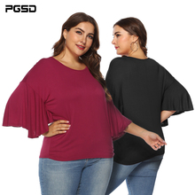PGSD Simple Pure color Fat Female T-shirt Summer Fashion Women T-shirt Round Neck Butterfly Elbow Sleeve Plus size Loose XXXL chic round neck half sleeve pure color fringed t shirt for women