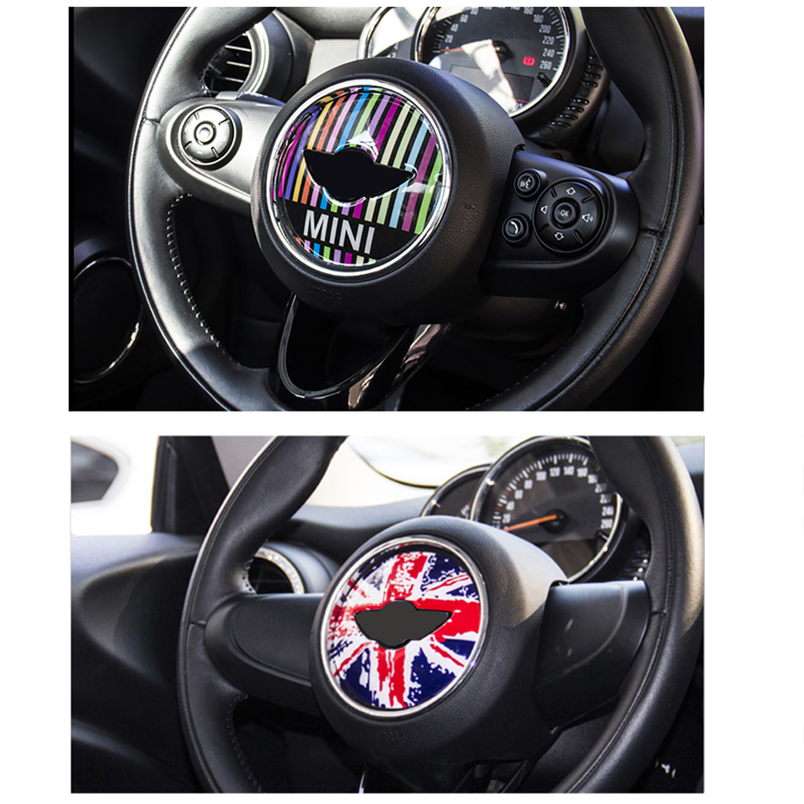 Steering Wheel 3d Stickers Transparent Silicone Decal Graphics For Mini Cooper clubman countryman hardtop R55 R56 R60
