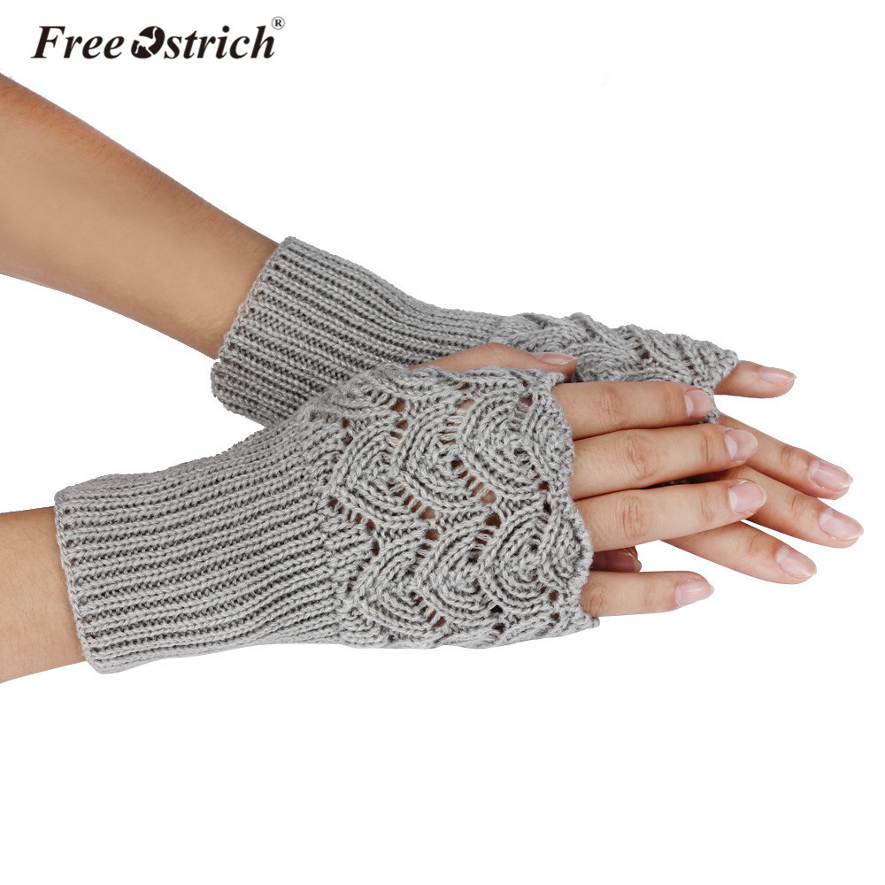 Free Ostrich Gloves 2019 Girl Lady Women's Warm Winter Brief Paragraph Knitting Half Fingerless Heart Shape Knitted Glove CJ15