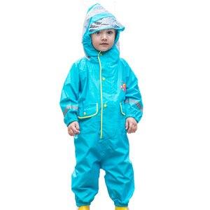 Image 4 - 2 9 שנות ילדי אופנתי עמיד למים סרבל מעיל גשם ברדס קריקטורה דינוזאור ילדים מקשה אחת גשם מעיל תינוק סיור ציוד גשם