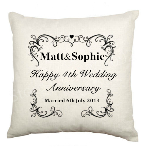 Wedding Anniversary Dates And Gifts: Anniversary Gifts Personalised Names Cushion Cover Happy