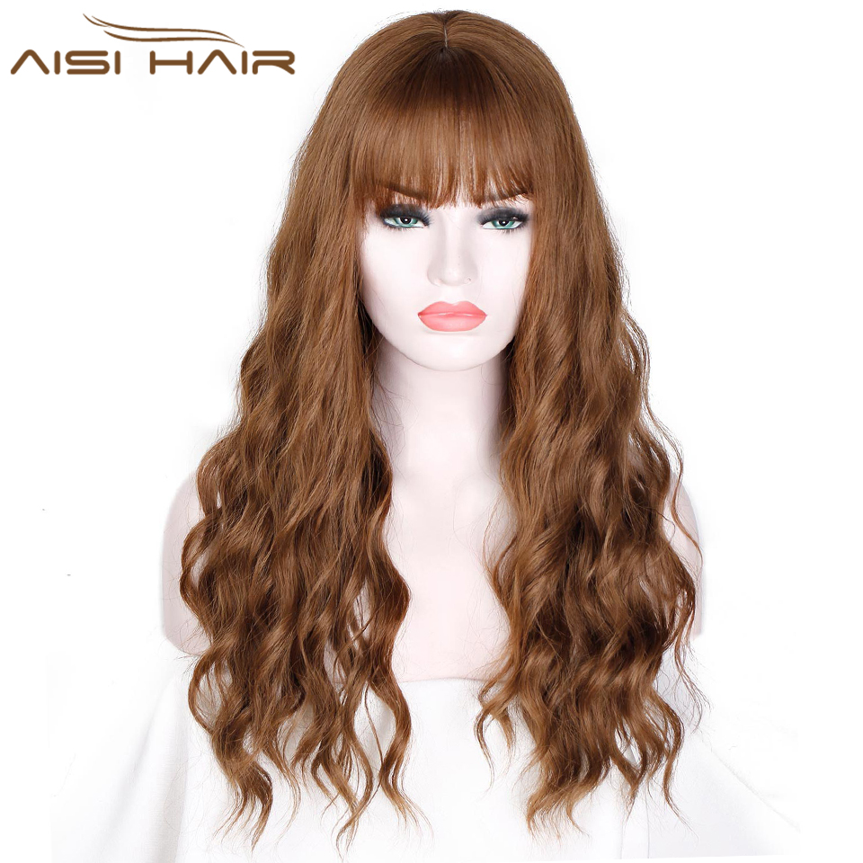 "26"" Long Mix Brown Womens Wigs with Bangs Water Wave Heat Resistant Synthetic Wigs for Women African American(China)"