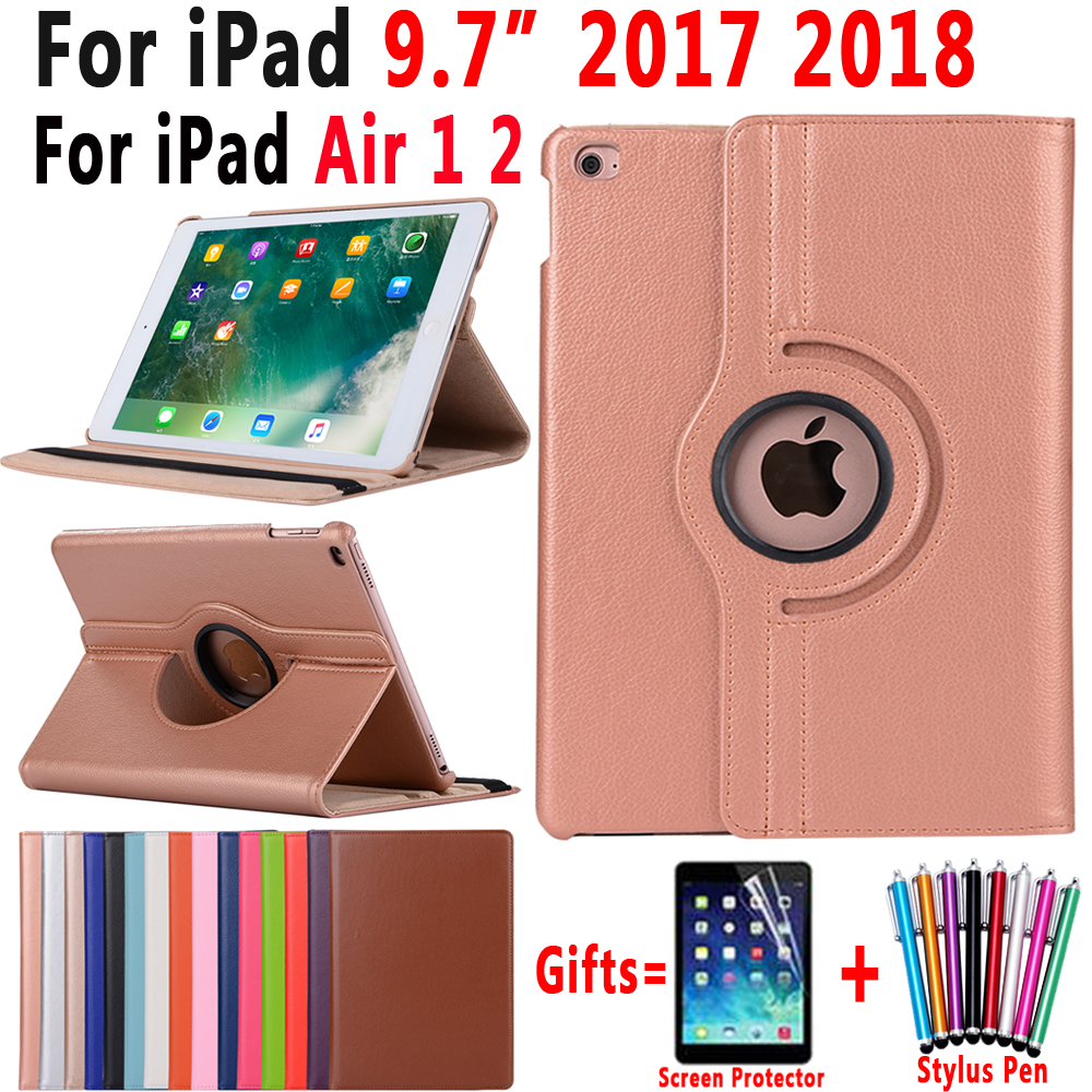 360Degree Rotating Leather Smart Cover Case for Apple iPad Air 1 Air 2 New iPad 9.7 2017 2018 A1822 A1823 A1893 Coque Capa Funda transparent tpu silicone back cover for new ipad 2017 model a1822 tablet cover for funda new ipad 2017 capa para stylus pen
