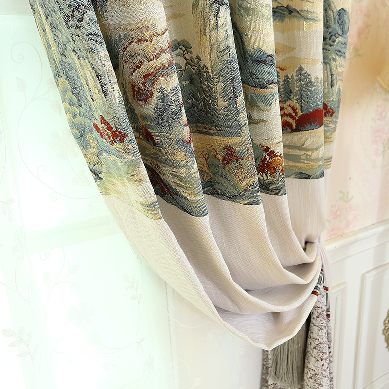 New Curtains for Living Room Bedroom Precision Chinese Jacquard Curtain Cloth Curtain Material Special Customizable