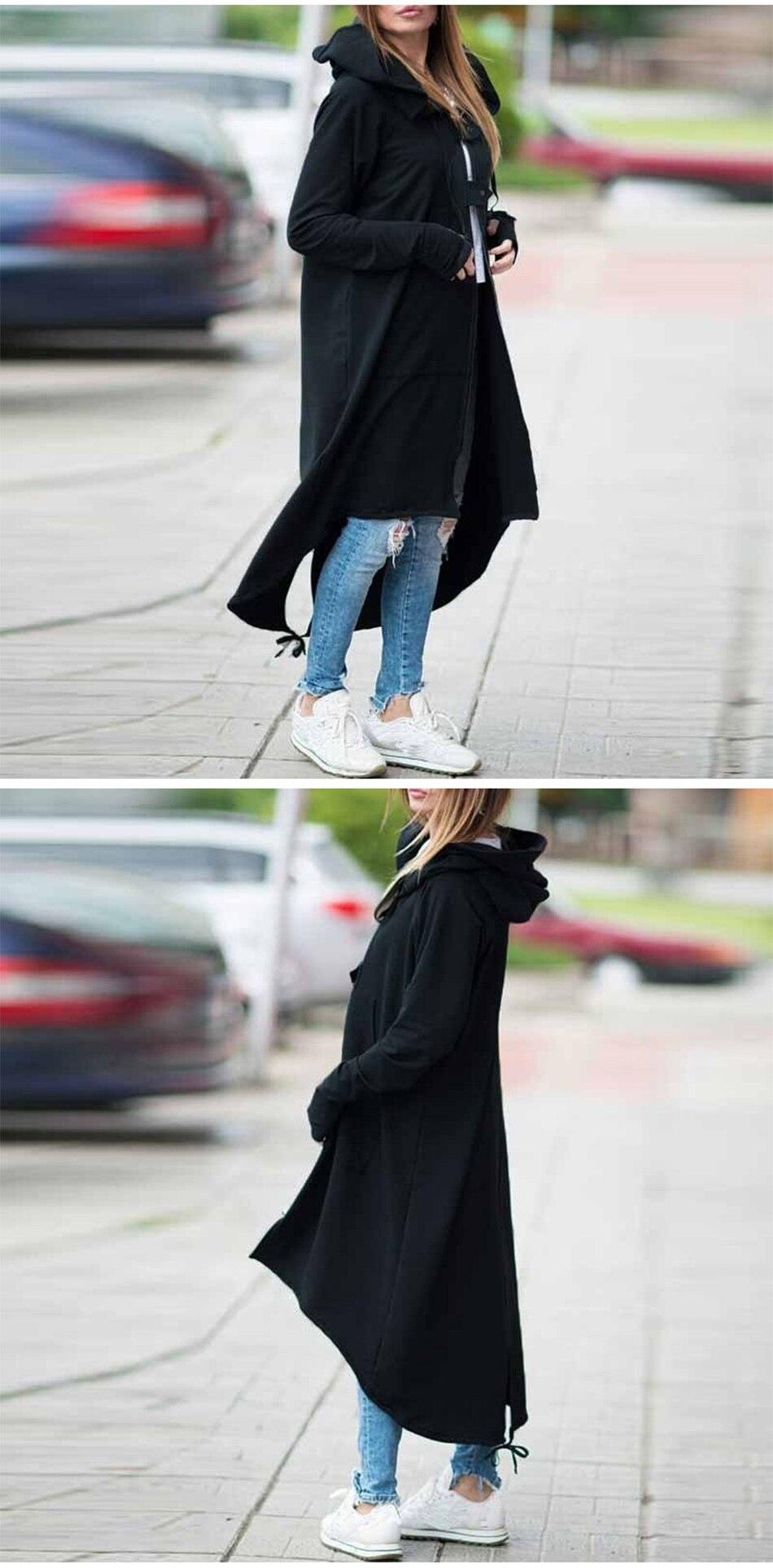 CROPKOP Fashion Long Sleeve Hooded Trench Coat 18 Autumn Black Zipper Plus Size 5XL Velvet Long Coat Women Overcoat Clothes 5