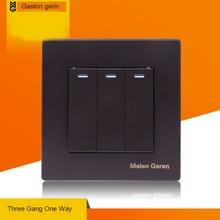 Universal Wall Light Switch 3 Gang 1 Way Power Panel Black Plastic Home Copper Socket 16A AC 110V 220V