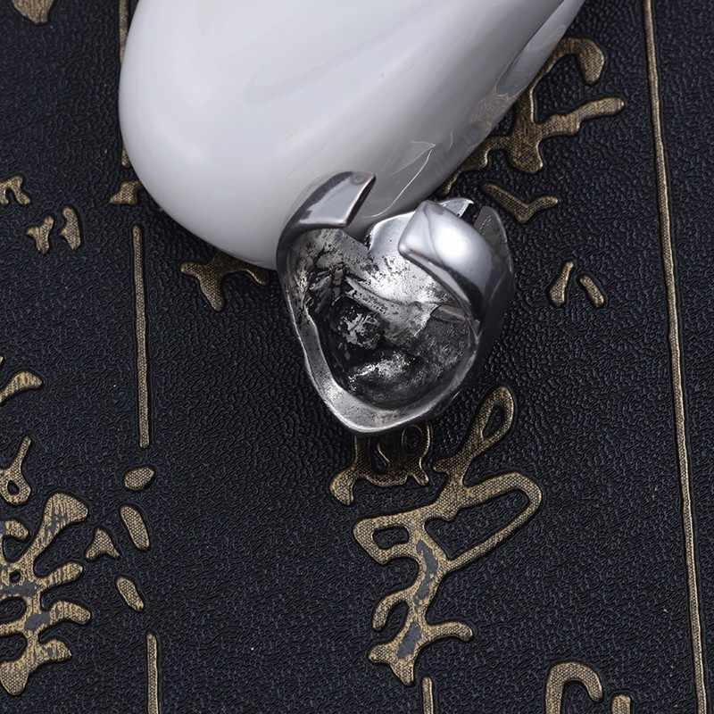 الشرير المفترس خواتم للنساء الهيب هوب حزب خاتم الرجال Steampunk من مجوهرات قابل للتعديل الفضة خاتم على شكل جمجمة للجنسين عيد الميلاد مجوهرات