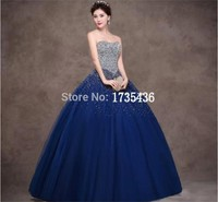 Strapless Backless Beaded Crystal Vestido De Debutante Prom Dress For 15 Years Royal Blue Quinceanera Dresses Ball Gowns