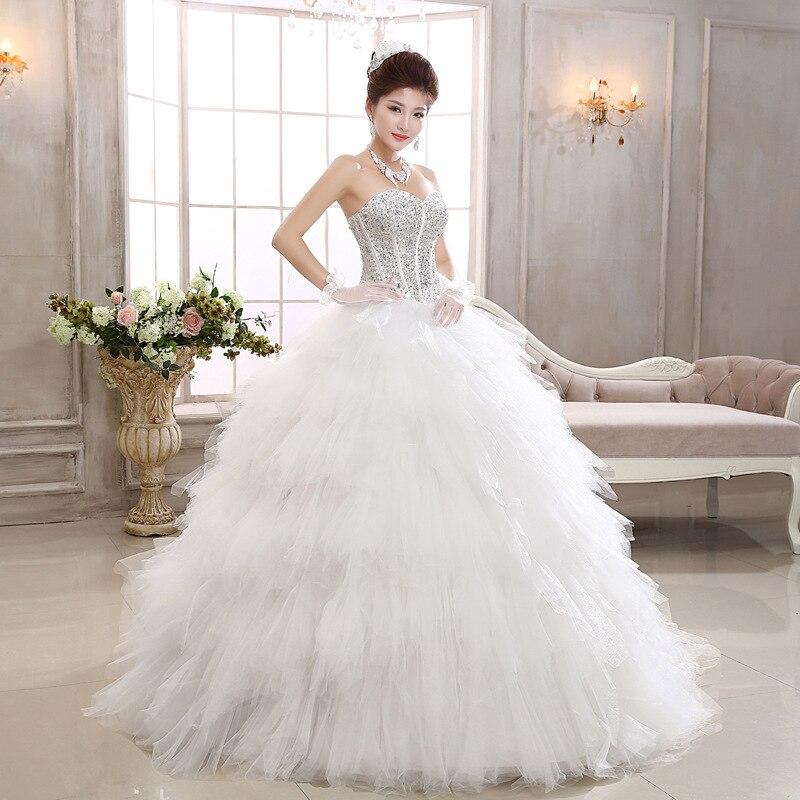 2017 New Swan Bride Diamond Thin Feather Princess Wedding Dress ...