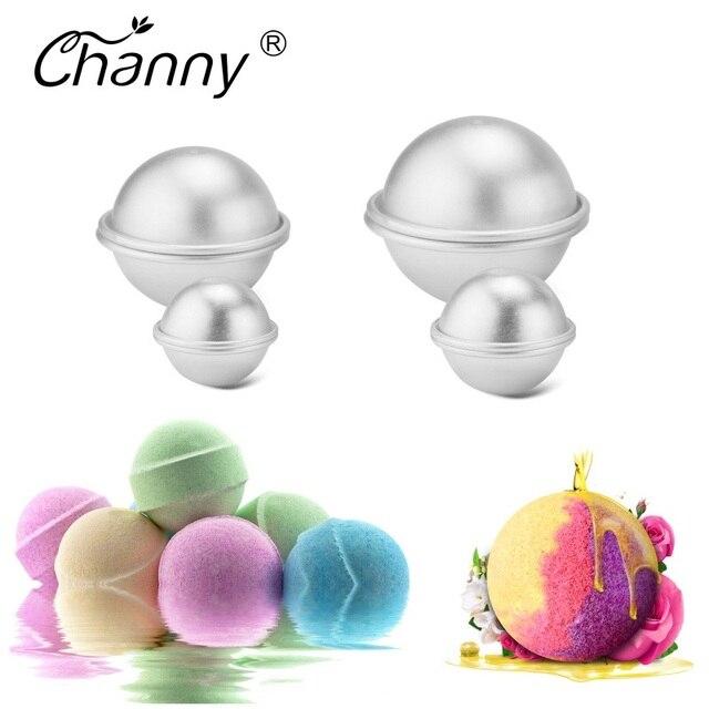 6 unids/pack bombas de baño de Metal de aleación de aluminio de baño bomba molde 3D bola esfera DIY forma de baño accesorios para herramientas creativo molde