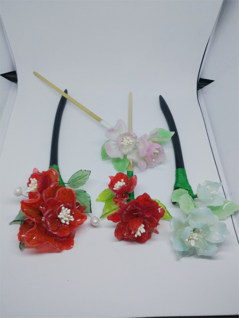 Handmade Hot shrink plastic jewelry Art Kawaii Chinese Style Charming Flower peony Hair Pins Clasp with Pendent Gift for girls korean style different flowers and plant of 50 chinese embroidery handmade art design book