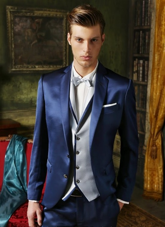 107cd2591fee 2017 Tailor Made Navy Blue Satin Groom Tuxedos Handsome Slim Fit 3 Piece  Mens Wedding Prom Party Suits(Jacket+Pants+Vest)terno-in Suits from Men's  Clothing ...