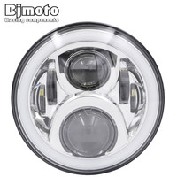 BJMOTO 7 INCH Motorcycle H4 H13 LED Headlight RGB Head Lights Hi Low Beam 6000K Headlamp