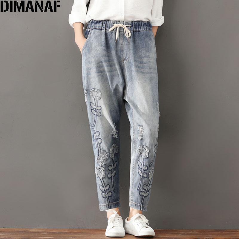 DIMANAF Plus Size Women Jeans Autumn Hole Harem Pants Floral Elastic Waist Show Thin Vintage Capris Pants Blue 2017 New Jeans 2017 vintage flower embroidery jeans female pockets straight jeans women bottom blue casual pants capris summer p3748