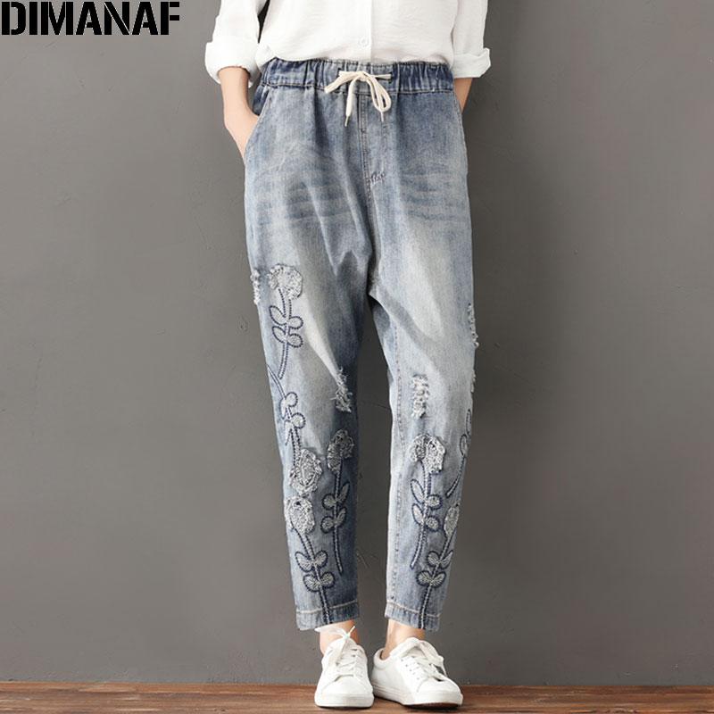 DIMANAF Plus Size Women Jeans Autumn Hole Harem Pants Floral Elastic Waist Show Thin Vintage Capris Pants Blue 2017 New Jeans