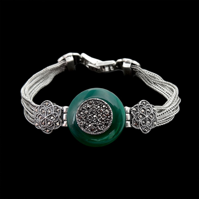 Hight Quality Antique Silver Plated Vintage Jewelry Bracelet Luxury Natural Green Agate Stone Bracelets For Women