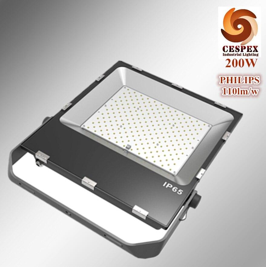 50000 h durée de vie en alliage d'aluminium AC110V 220 V 240 V 50/60Hz 110lm/w IP65 en plein air carré haute mât 200 W LED projecteur réflecteur