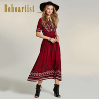 Bohoartist Women Red Loose Dress 2018 Autumn Deep V Neck Floral Print Apparel Half Sleeve Elegant
