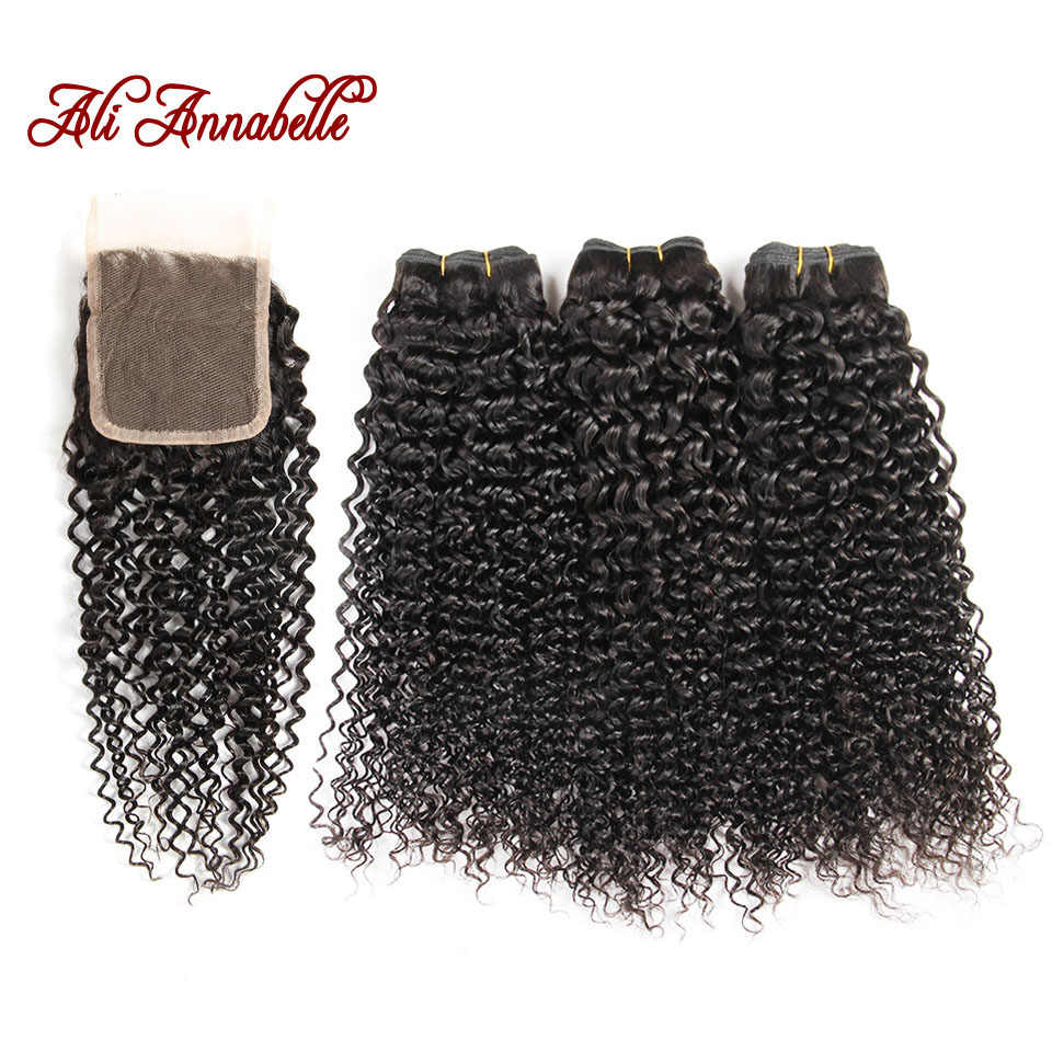 ALI ANNABELLE HAIR Malaysian Kinky Curly Hair Weave 100% Human Hair Bundles Natural Color Remy Hair 3 Bundles With Closure