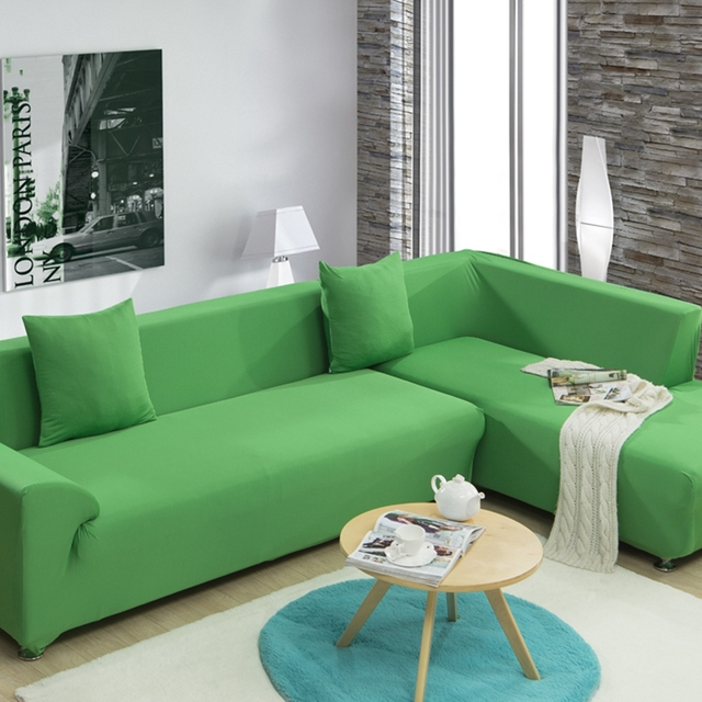 Green Stretch Sofa Cover For Living Room Single Double Three Four Seat Corner