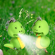 Cartoon small green cute snake LED luminous key chain flashlight car home accessories pendant little toys for children wholesale