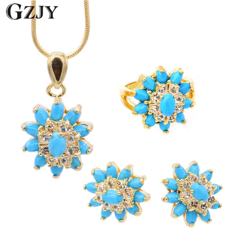 GZJY Peculiar Fashion Party Jewelry Set Yellow Gold Color Tears of eyes Zirconia Pendant Necklace Earrings Ring Set For Women