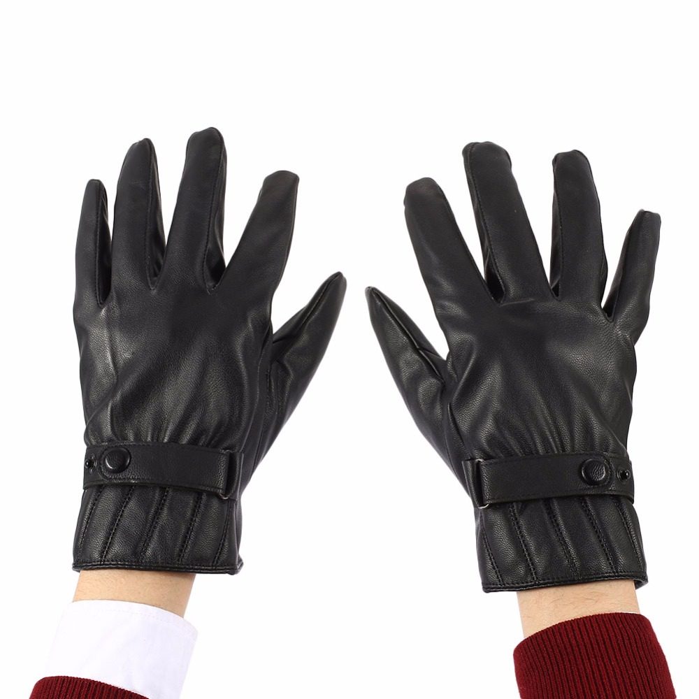 Relefree Mens Genuine Leather Short Black Touched Screen Glove Man Gym Luvas Car Driving Mittens Winter Warm Mittens 3 Style