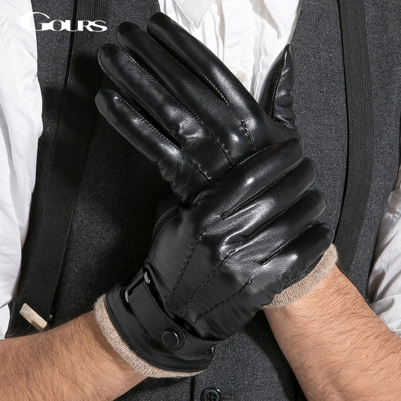 Gours Gloves 2018 Winter New Men Genuine Leather Gloves Goatskin Mittens Wool Black Warm Fashion Motorcycle Driving GSM005