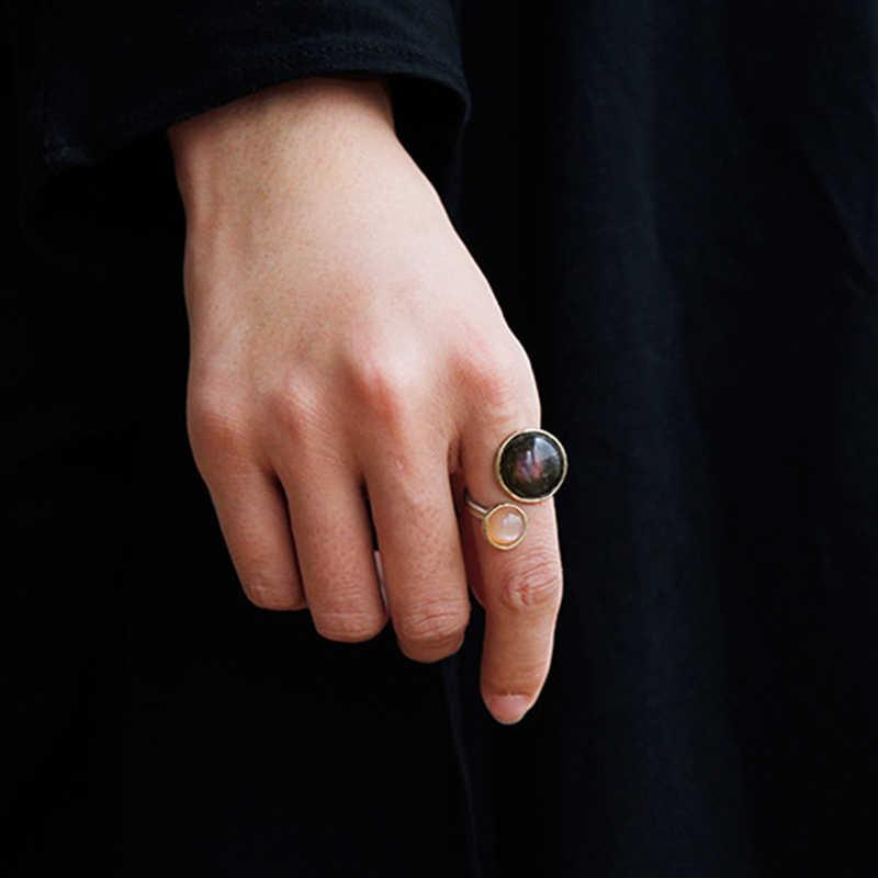 Lotus Vui Thật Nữ Bạc 925 Labradorite tự nhiên Ánh Trăng Đá Quý Nhẫn Mỹ Trang Sức Huyền Bí Hồ Nhẫn cho Nữ
