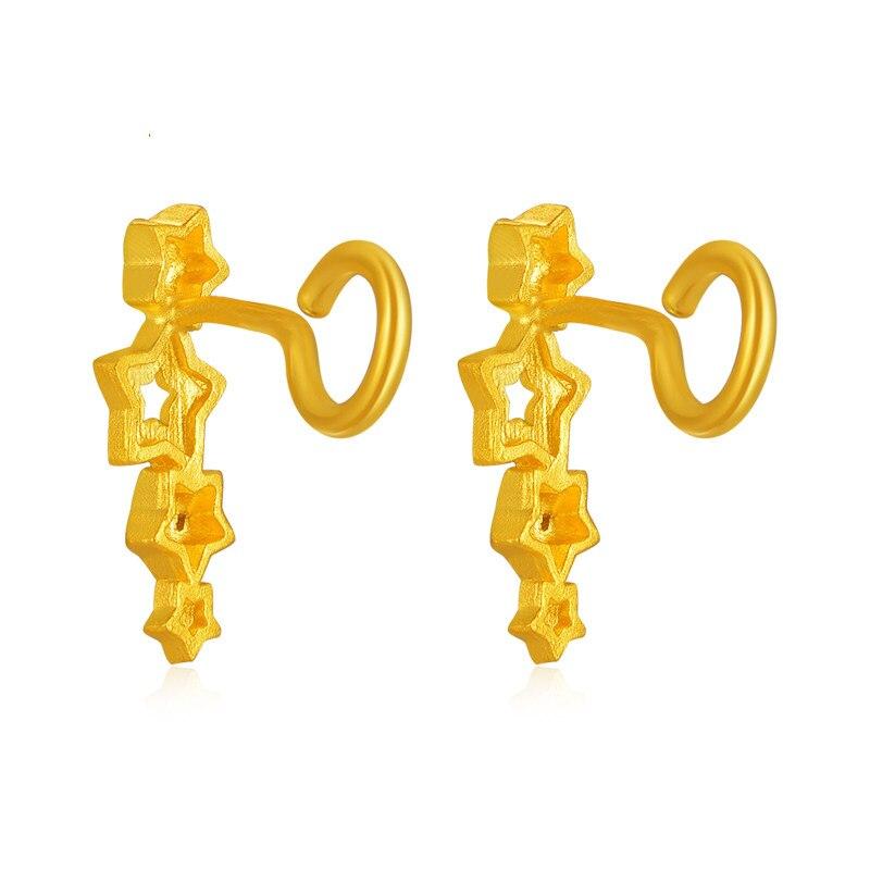 Solide 24 K or jaune boucles d'oreilles femmes étoile boucles d'oreilles 2.16g - 4