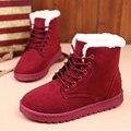 Botas de inverno Mulheres Tornozelo Botas de Inverno Quente Sapatos Botas Mulheres Ata Acima Sapatas Das Senhoras Botas Femininas Feminino Preto Rosa Vermelho
