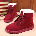 Winter Boots Women Ankle Boots Warm Winter Shoes Women Boots Lace Up Ladies Shoes Female Botas Femininas Black Red Pink