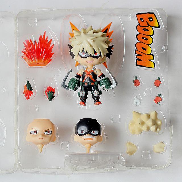 Huong Anime 10CM Nendoroid My Hero Academia Bakugou Katsuki #705  Izuku Midoriya #686 PVC Action Figure Model Toy Collectible
