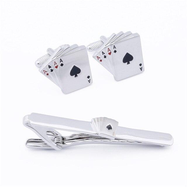 4 de Poker Ace 1 Conjunto de Varejo de Metal Cuff Link E Gravata Set Clipe