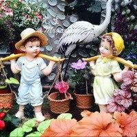 Творческий смолы сад украшения детского сада статуя Home Decor ремесла наружной отделки объекты смола мультфильм кукла Фигурка подарок
