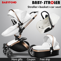 Free ship! babyfond Aulon 3 in 1 baby stroller leather two way shock absorbers baby car cart trolley Europe baby pram gift