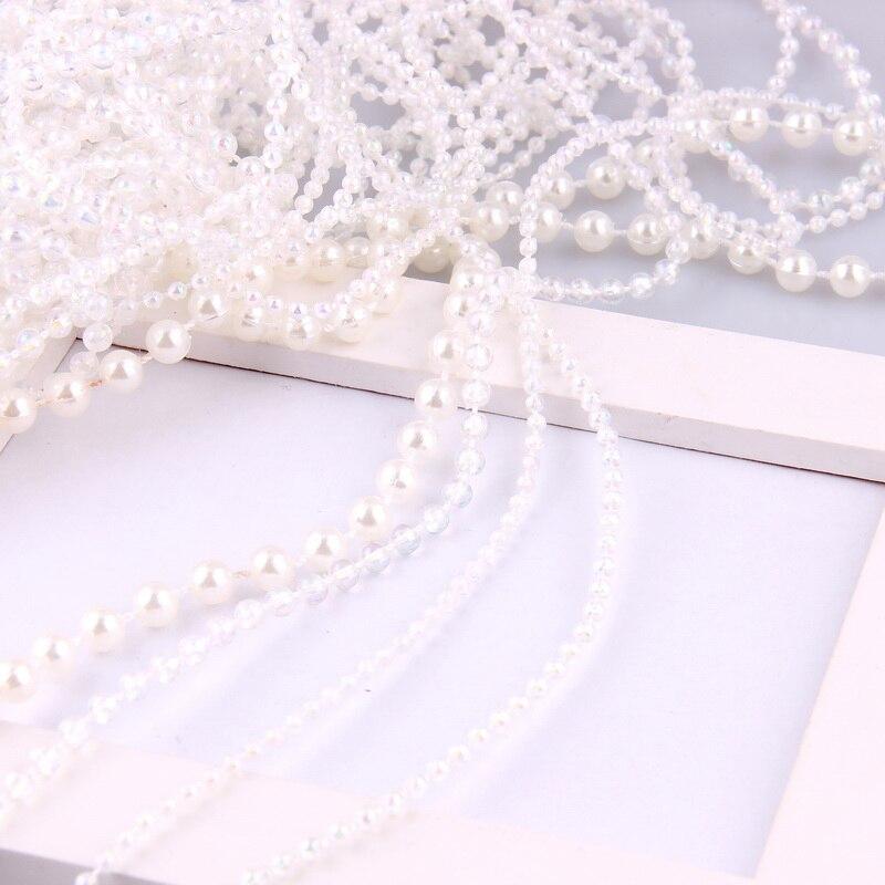 1 метров жемчужно-белый 2,5/3/4/6 мм лески искусственный жемчуг бусы Гирлянда для Цветы DIY Свадебная вечеринка украшения