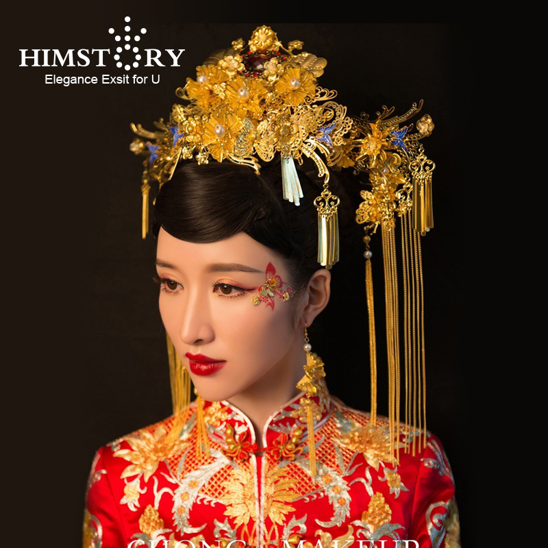 HIMSTORY Hair-Accessories Jewelry Chinese Phonix Long-Tassel Wedding Gold-Color Vintage