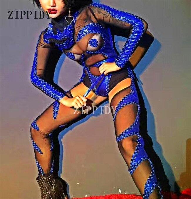 Black Perspective Mash Bodysuit Head Piece Leggings Sexy Show Leotard Costume Nightclub Singer Dj Performance Wear