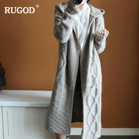 RUGOD New Female Long Style Cardigans 2018 Fashion Casual Hooded Solid Open Stitch Knitted Sweater For Women Tops Sueter Mujer