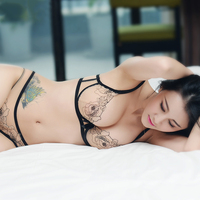 Shaonvmeiwu Ultra Thin Gauze Sexy Embroidery Lace Bra Lingerie Suit Comfortable Perspective Breathable Small Chest Women