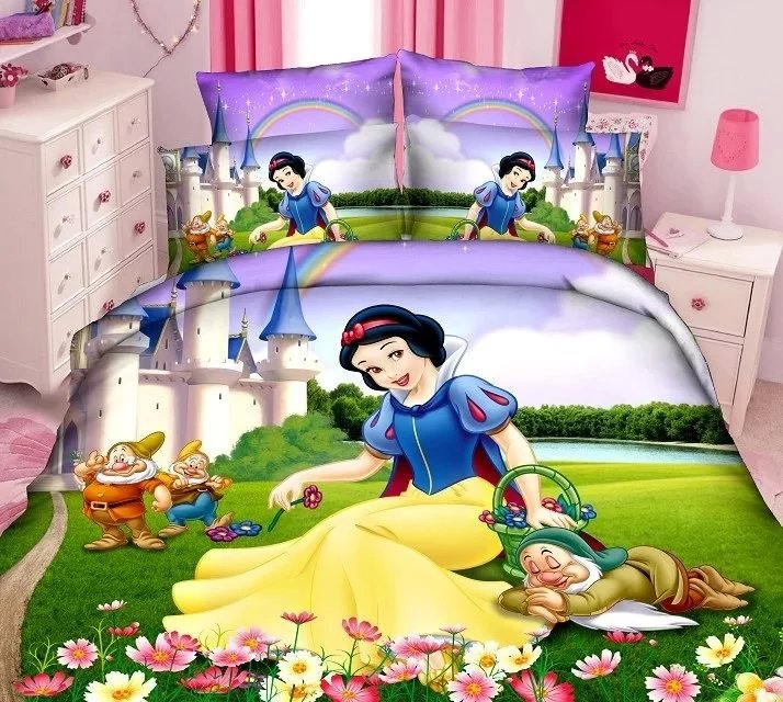 Snow White and the 7 Dwa bedding sets single twin size bed duvet covers sheets girls Childrens bedroom decoration yellow color