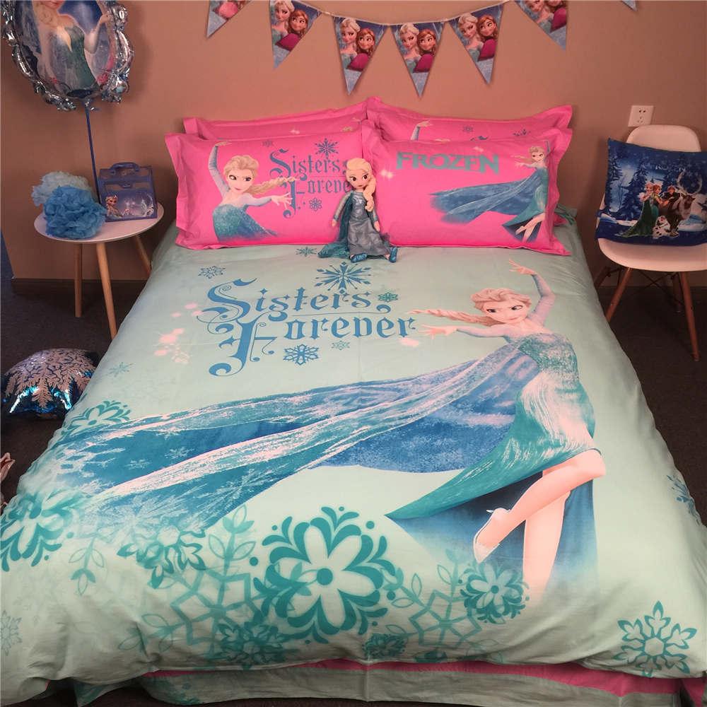 Disney Cartoon Frozen Elsa 3D imprimé literie ensemble couvre-lits couvre-lits pour filles chambre décoration coton tissé 500TC bleu rose