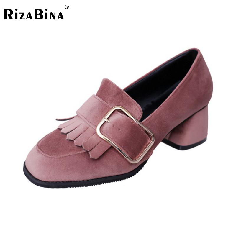 Lady High Heel Shoes Women Buckle Tassel Thick Heels Pumps Square Toe Vintage Party Vacation Leisure Female Footwears Size 35-39 2017 shoes women med heels tassel slip on women pumps solid round toe high quality loafers preppy style lady casual shoes 17