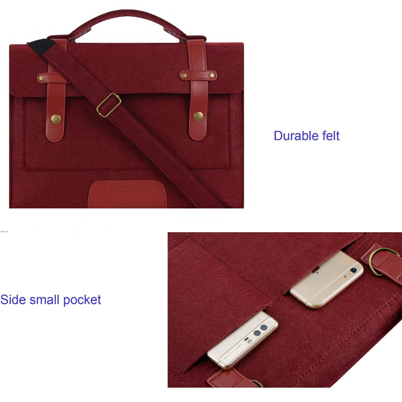 Image 4 - MOSISO 13.3 14 15 15.6 inch Felt Laptop Bag Case for Macbook Asus Dell HP Women Notebook Messenger Shoulder Handbag Briefcase Me-in Laptop Bags & Cases from Computer & Office